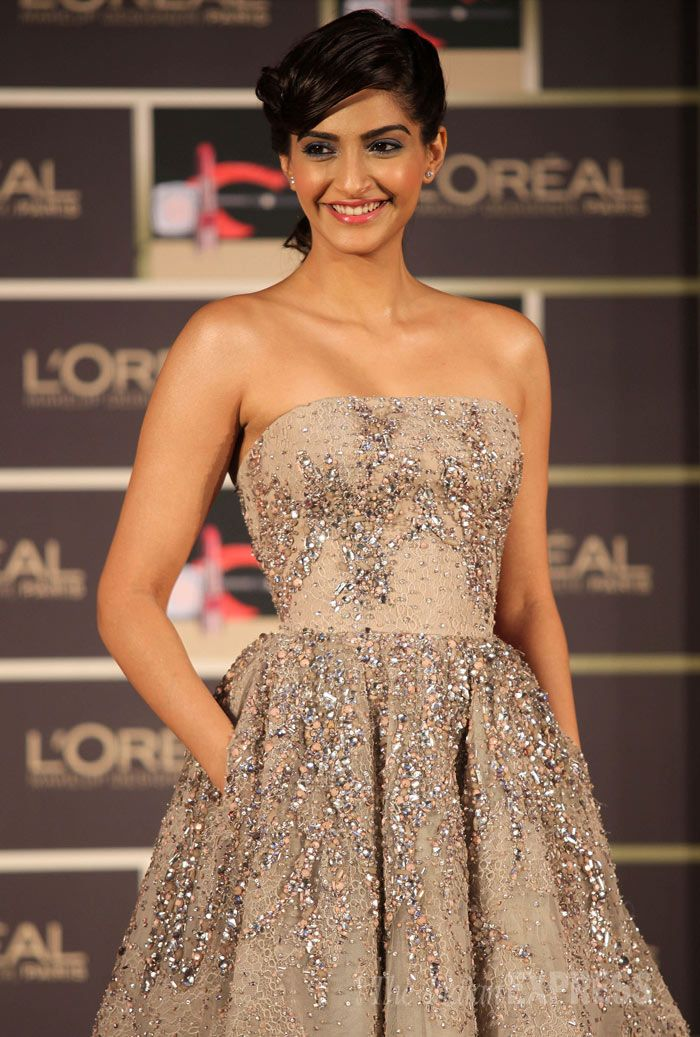 Sonam Kapoor at the launch of L'Oreal Paris' Cannes l'or lumiere collection in Mumbai.