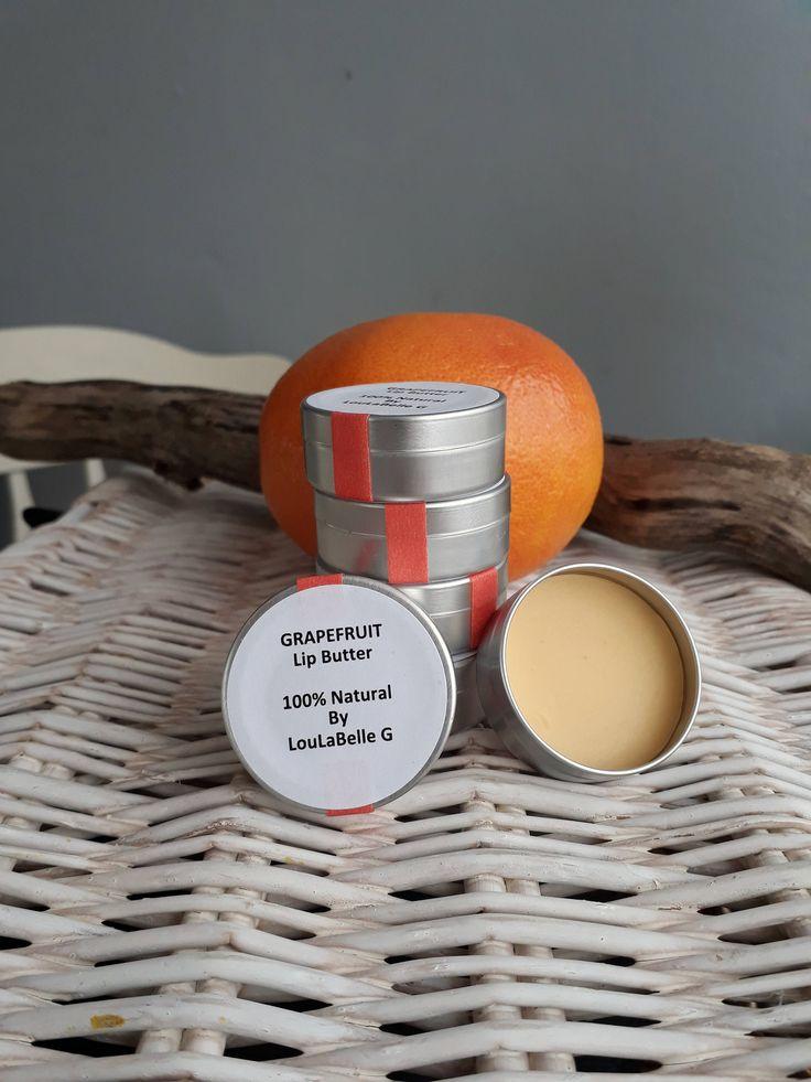 Lip Butter ~ Grapefruit Lip Balm ~ 100% Natural Ingredients ~ Handmade by LouLaBelleG on Etsy