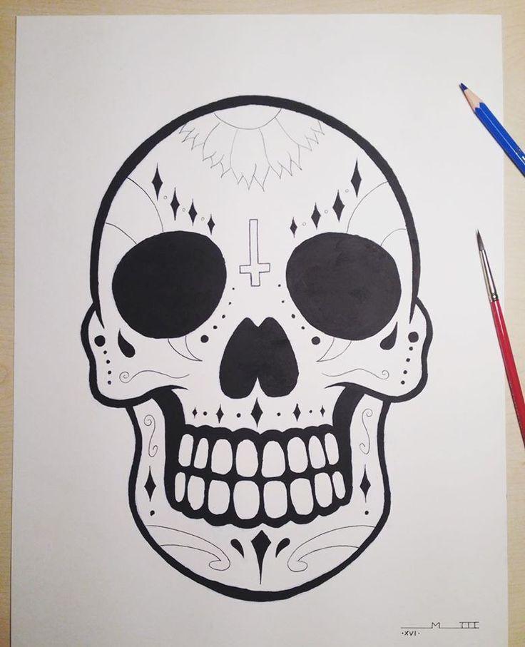 Sugar Skull. Óleo y tinta sobre papel A3.