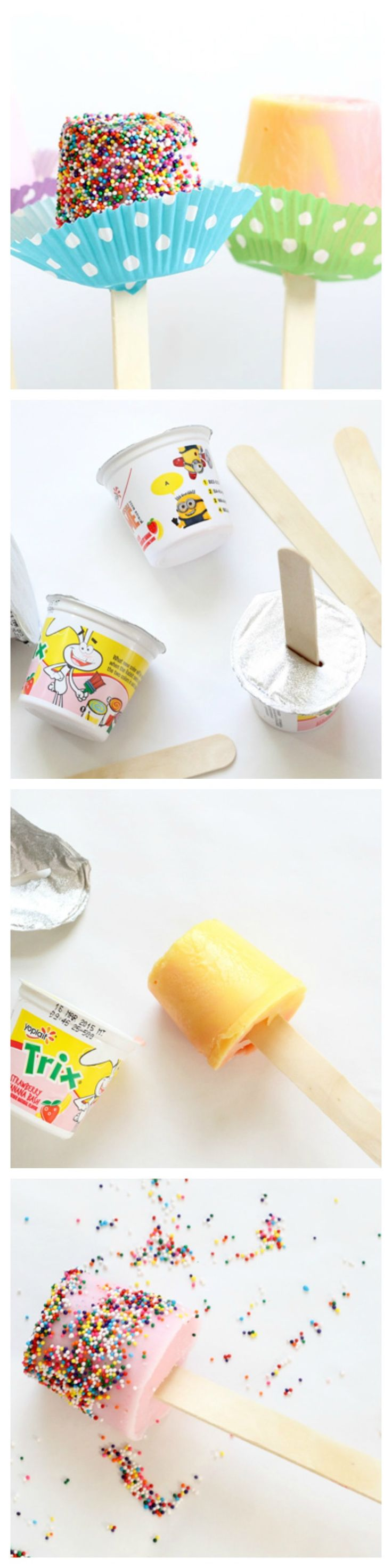 A popsicle stick and yogurt are all you need for this delicious, healthy, frozen treat.