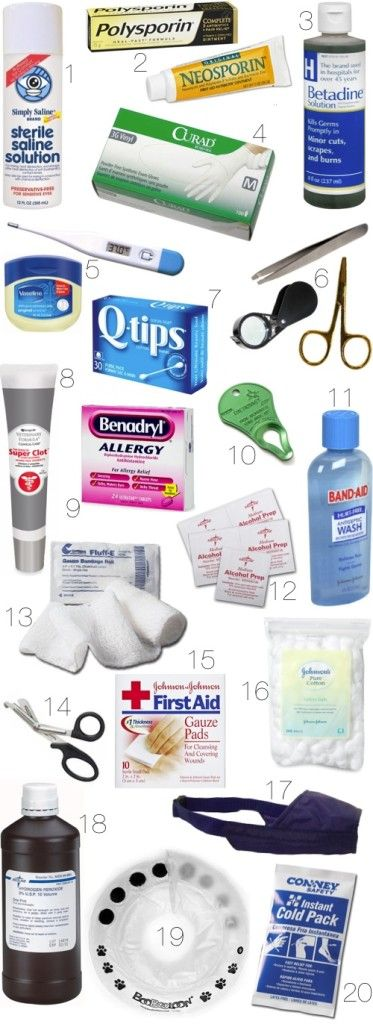 Saline solution, for flushing debris from eyes Antibiotic ointment such as Polysporin or Neosporin, to apply to healing wounds Iodine such as Betadine solution, for applying to and washing fresh cuts and wounds Sterile gloves Digital thermometer and lubricant; ask your veterinarian to teach you how to take your dog's temperature Flat slanted tweezers, magnifying…