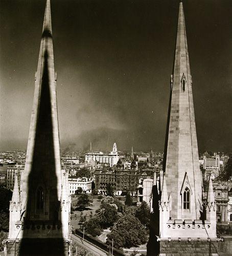St. Patrick's Cathedral spires, Melbourne, 1946