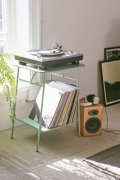 "Record Player Stand - Steel, 3 colors; Mint, Lt. Grey, Black. Dimensions: 19""L x 19""w x 26""H - Height between bottom and top shelf: 20"".  $69 free shipping. Urban Outfitters"