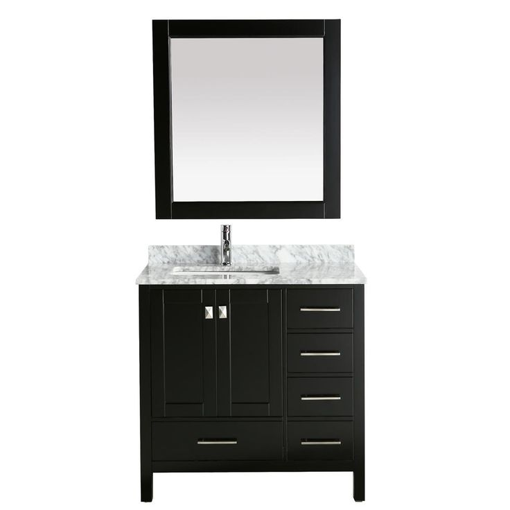 """Design Element London 36"""" Vanity in Espresso with Marble Vanity Top in Carrera White with White Basin and Mirror"""