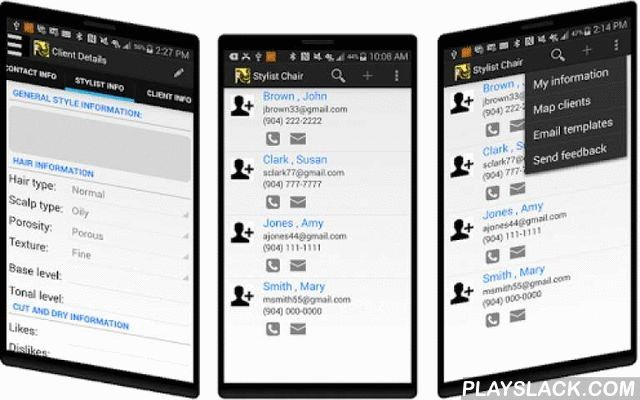 Stylist Chair Client Tracking  Android App - playslack.com , With Stylist Chair, hair stylists, hair salons have the visibility to manage styles, clients, personal information, appointment history and much more. Get rid of the paper client card. Make your client card electronic for use anytime, anywhere.Features of Stylist Chair:- Hair stylists can manage client information from one app- Contact, Style and Personal information at your fingertips- Prepare yourself before a client appointment…