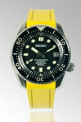 Curved End Rubber Strap for Seiko MarineMaster 300m (CB03), Yellow