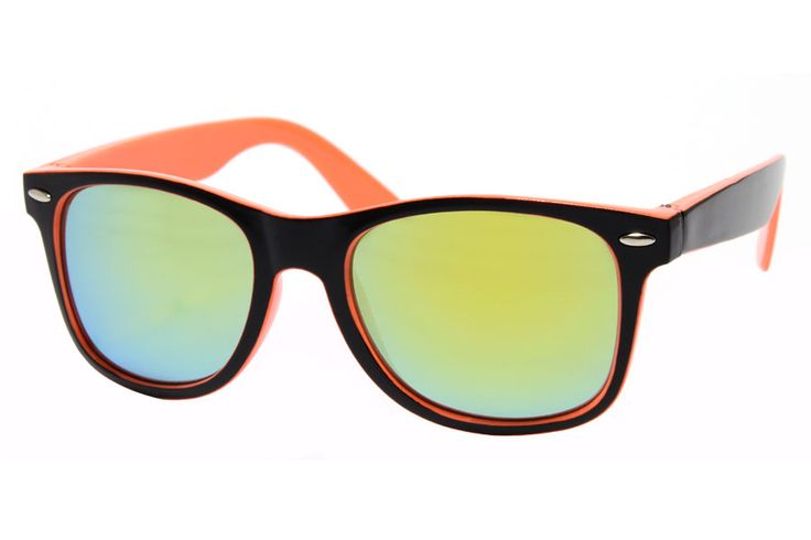 Orange / Black Wayfarer With Mirrored Glasses