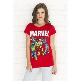 Red Marvel graphic t-shirt with ripped back