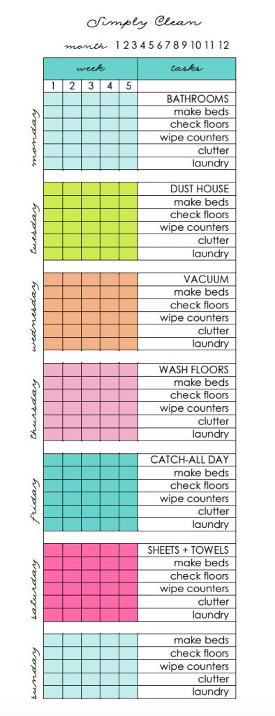 Simply Clean Cleaning Routine at a Glance Free Printable - Clean Mama