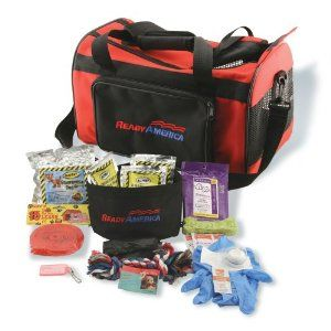 Emergency Kit for Dogs  It contains enough supplies for three days. Has dog food and water pouches with 5 year shelf life, a rawhide bone, chew rope, waste bags, leash, wipes, ID tag, wipe, gauze, carrier, and more.