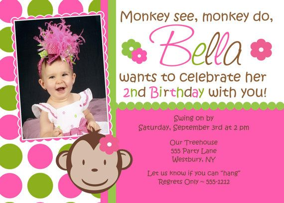 Mod Monkey Birthday Invitation Girl Photo Print by jcbabycakes, $12.00