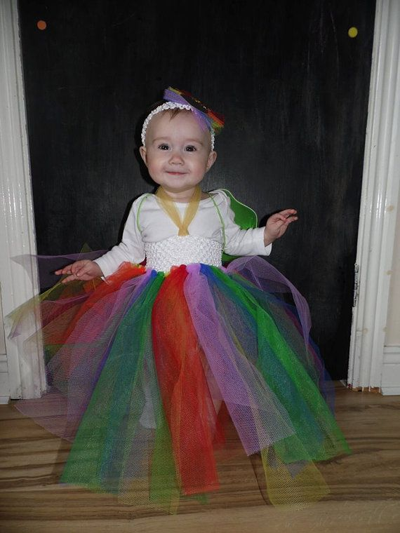 Rainbow Tutu with White Waistband and Gold by MajackalCreations, $20.00