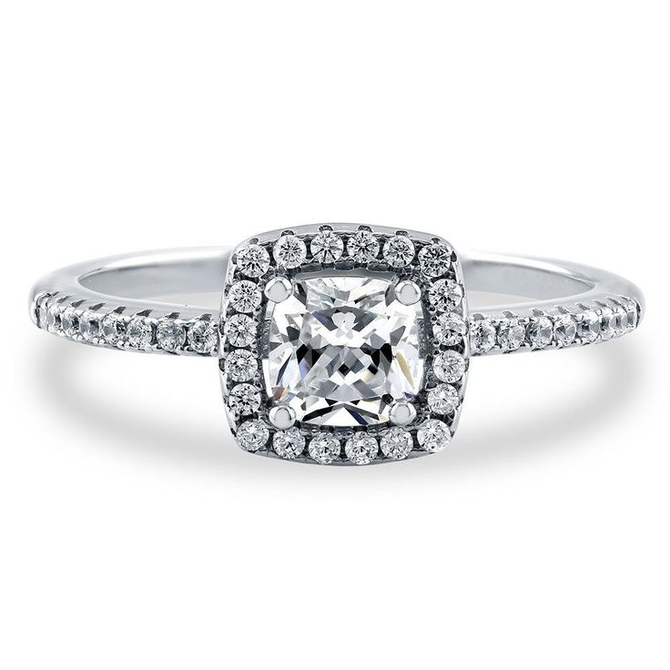 Berricle Sterling Silver Cushion Cut Cz Halo Promise Engagement Ring 0.78 Carat