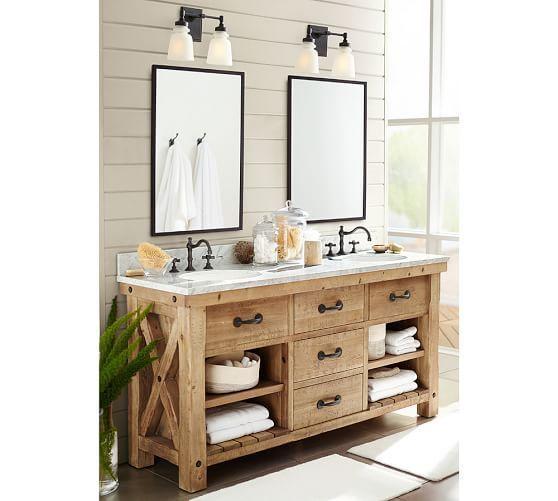 Benchwright Reclaimed Wood Doppelwaschbecken Vanity – Wax Pine Finish