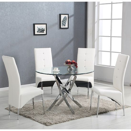 67942f5fbf90f Daytona Glass Dining Table Round With 4 Vesta White Chairs