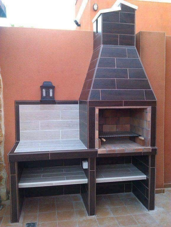 Tiled Braai Fireplace Outdoor Kitchen Design Barbecue