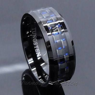 http://rubies.work/0988-emerald-pin-brooch/ Men's Tungsten Ring With Carbon Fiber 8mm Black And Blue Wedding Band Size 6-14