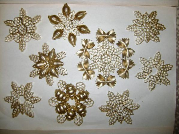 diy pasta snowflakes tree ornaments gold crafts kids gold