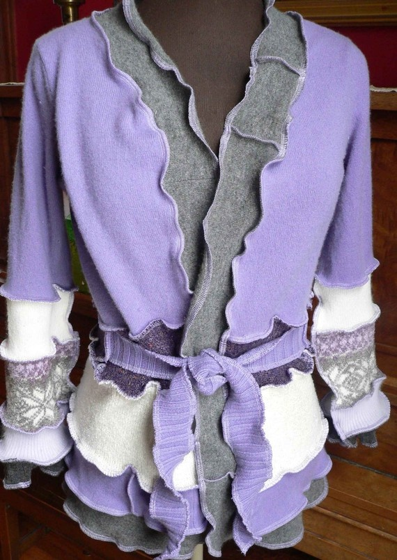 reconstructed wrap cardigan...if I dare to wear ruffles!