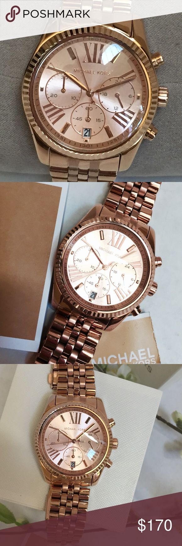 Michael Kors Lexington Watch MK 5569, Rose Gold color with stainless steel band, chronograph dial, 38mm, 10 ATM, large Roman numerals, absolutely gorgeous and ready for a new home Michael Kors Accessories Watches