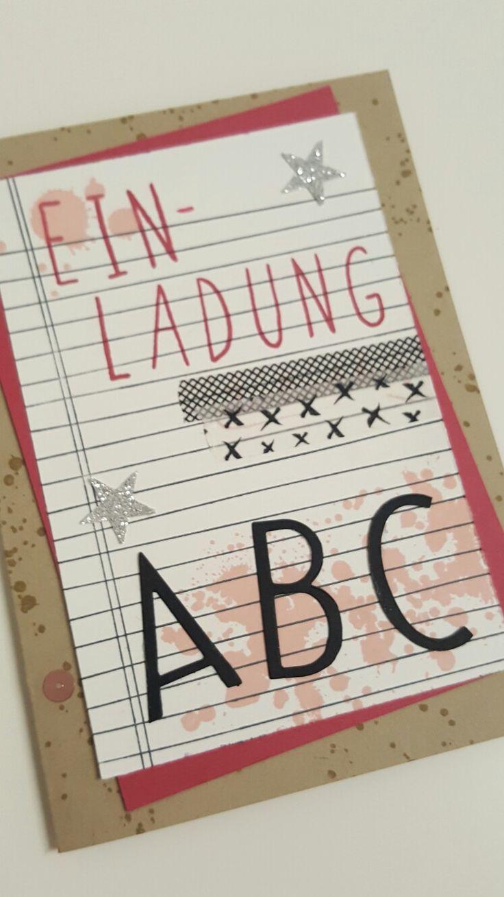 Einladung zur Einschulung. ABC. Stampin up. Writing Noten.