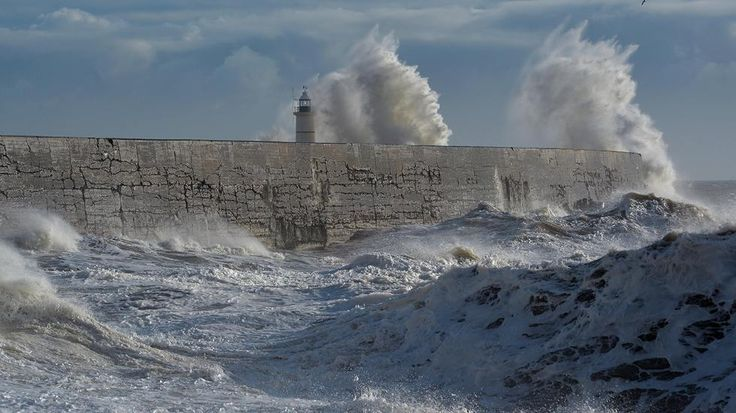 Waves batter the harbor wall in Newhaven on the south coast of England on Jan. 10, 2015, after a second Atlantic storm brought strong winds. Strong winds from a second Atlantic storm in two days battered much of Britain overnight