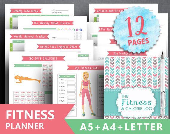 Insert de planificateur de remise en forme : « FITNESS JOURNAL » Lettre + A4 + A5, la perte de poids quotidienne, santé Agenda, planificateur d'entraînement, journal alimentaire, calorie tracker