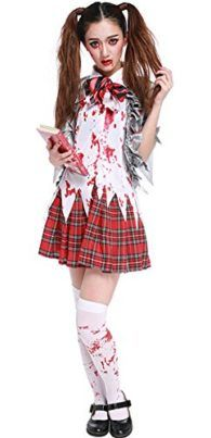 Halloween Zombie Costume Schoolgirl Costume Bloody Student Uniform Outfit Cosplay Tag a friend who can pull this off! #Zombie #Halloween #Costume