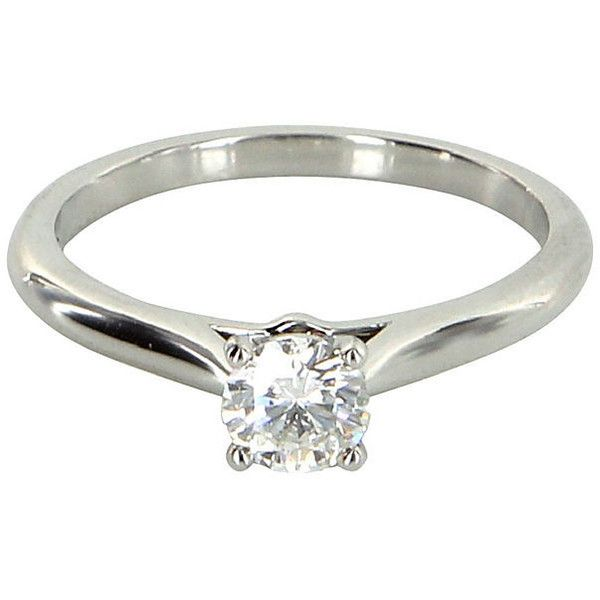 Pre-Owned Cartier Diamond Solitaire Ring (14.770 DKK) ❤ liked on Polyvore featuring jewelry, rings, pre owned engagement rings, diamond engagement rings, white engagement rings, round diamond ring and round engagement rings