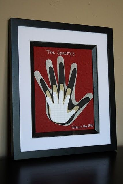 Trace everyone's hands on different colored paper. Stack in order and place in frame. So easy and sweet!