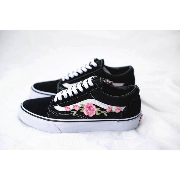 White Vans Old Skool Custom Rose Embroidered Shoes Vans Rose Vans Shoes Women Embroidered Shoes Vans Old Skool Custom
