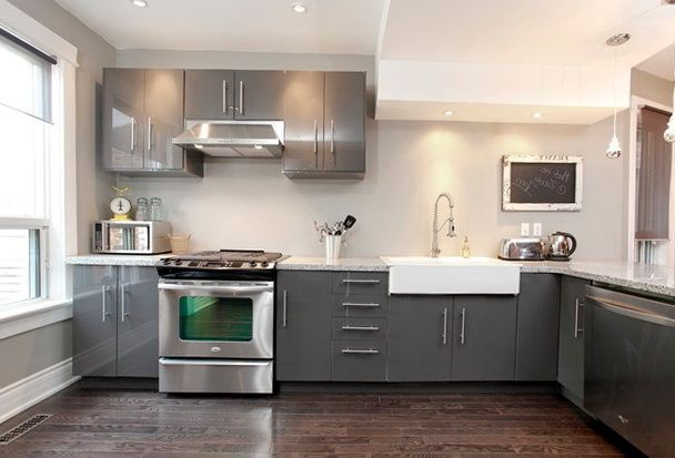 grey kitchen cabinets with white countertops | home design ideas