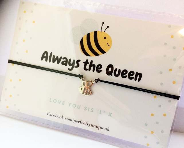 Cord Bracelet Bumble bee Jewellery gift Bee adjustable wish bracelet white cord