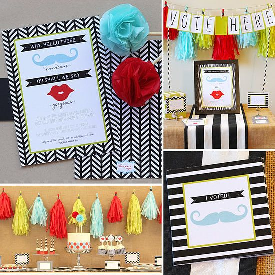 Cristina of Le Partie Sugar is known for creating inventive events with gorgeous paper goods, and this modern gender reveal party is no exception. Adorable mustaches and ruby red lips and a clever voting station add style to one Click herecolor-poppin' party designed to lead up to a big reveal.  Source: Le Partie Sugar