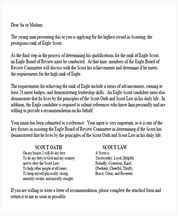 how to write a letter of recommendation for an eagle scout