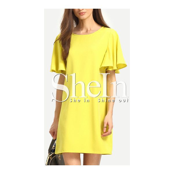 SheIn(sheinside) Yellow Short Sleeve Shift Dress ($14) ❤ liked on Polyvore featuring dresses, yellow, short sleeve shift dress, short-sleeve maxi dresses, yellow shift dress, long-sleeve shift dresses and short dresses