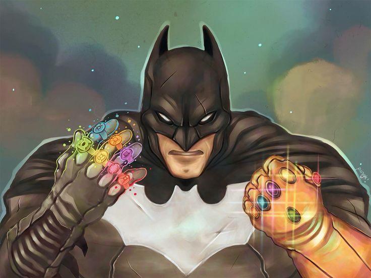 Blink blink Batman Batman with 7 Lantern rings and the Infinity Gauntlet Art by Rubin Pingk