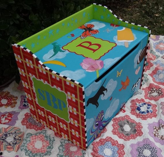 Custom Hand Painted Toy Chest Toy Box Treasure Chest by elliesshop, $495.00