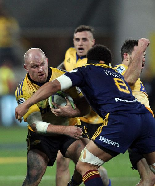 Ben Franks Photos Photos - Ben Franks of the Hurricanes on the charge during the Super Rugby Final match between the Hurricanes and the Highlanders at Westpac Stadium on July 4, 2015 in Wellington, New Zealand. - Super Rugby Final - Hurricanes v Highlanders