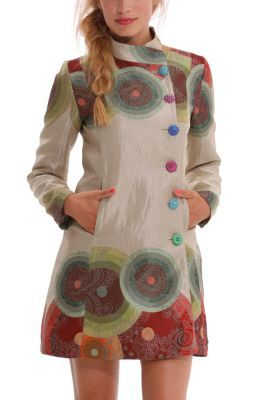 Desigual women's Colorful Circles coat. This coat featured on the catwalk in our first ever show at New York Fashion Week. You can boast about owning an item that was on the best catwalk in the world!