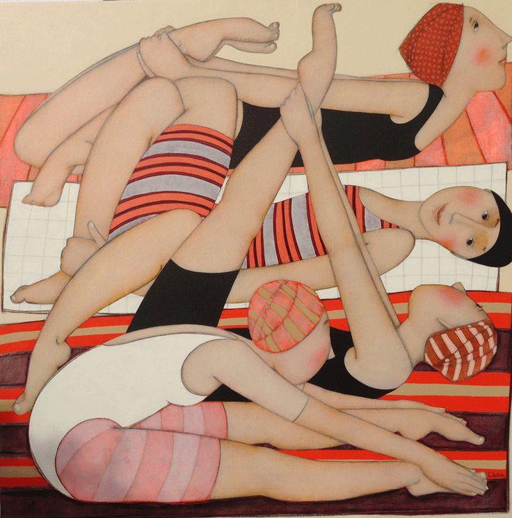 Cécile Veilhan, Les étirements, 100x100 cm