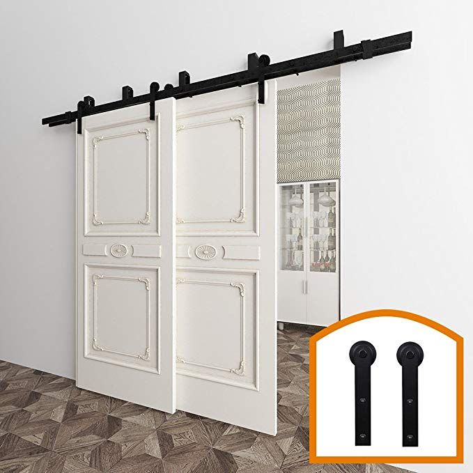Zekoo 5 16 Ft Low Ceiling Bracket Bypass Barn Door Hardware Hinges Double Door Kit Rustic Black Steel Metal Rail Rol Barn Door Door Hardware Barn Doors Sliding