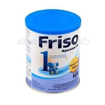 Friso Гипоаллергенная смесь Фрисолак ГА 1 с пребиотиками и нуклеотидами 0-6 мес. 400 г  — 780р.   Заменитель Friso Фрисолак ГА 1 — сухая молочная гипоаллергенная смесь для детей с риском развития пищевой аллергии с рождения до 6 месяцев.    Особенности:   Смесь, благодаря частичному гидролизу белка молочной сыворотки, является профилактической гипоаллергенной смесью и предназначена для искусственного и смешанного вскармливания детей с повышенным риском развития пищевой аллергии при…