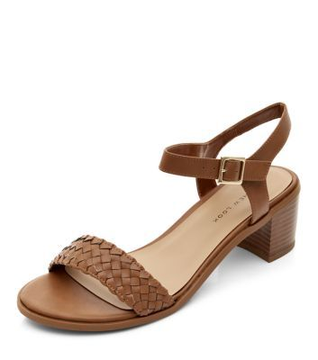 Wide Fit Tan Plaited Front Strap Block Heels