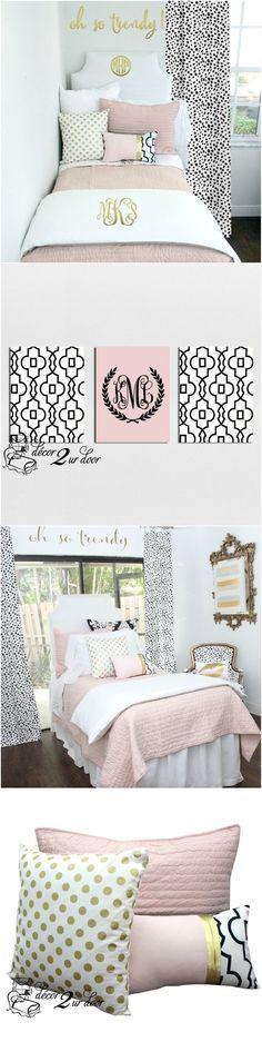 Blush White Pop of Black Dorm & Teen Designer Bedding Set