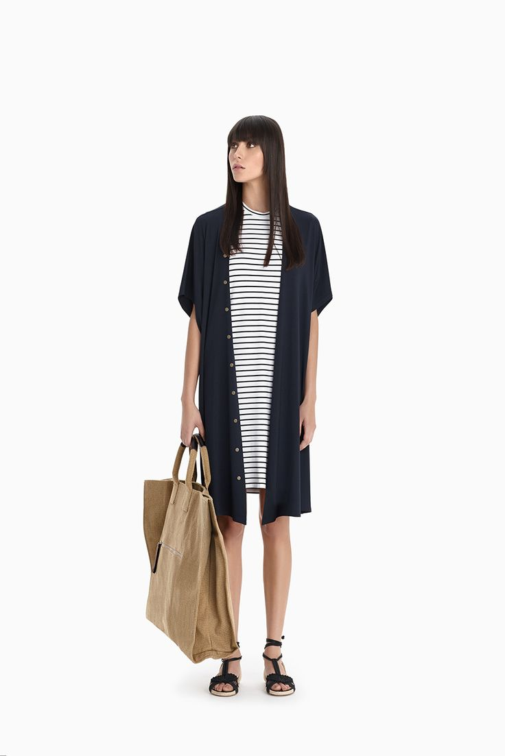 Navy Studded Duster + Picasso Stripe Wedge Tunic