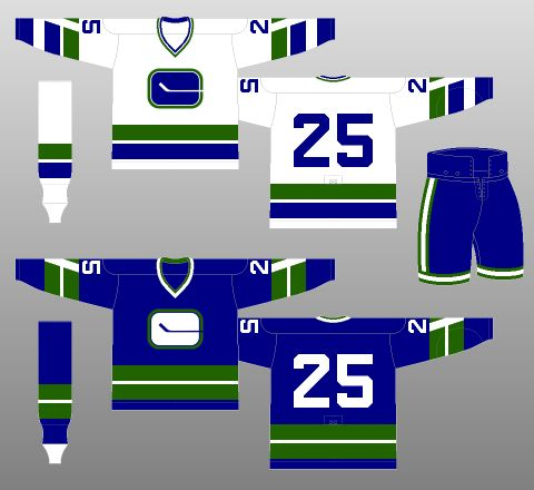 "Vancouver Canucks 1970-72 - The Canucks took to the ice in 1970 wearing blue, green and white uniforms. Their logo, the ""stick-in-rink"" logo, actually forms the letter ""C,"" as the stick extends beyond the right edge of the logo."