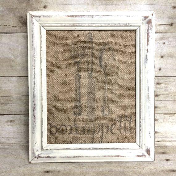 "Burlap Kitchen Art Print - Bon Appetit - Vintage Farmhouse Shabby Chic - 8"" x 10"" - Knife Fork Spoon Silverware Utensils on Etsy, $16.00"