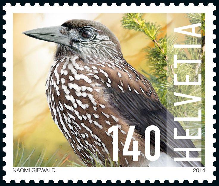 Swiss special stamp: Wild animals at the national park - spotted nutcracker www.postshop.ch/philatelie