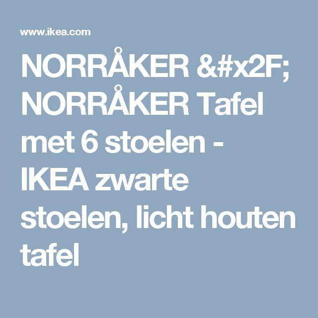 NORRÅKER / NORRÅKER Tafel met 6 stoelen - IKEA zwarte stoelen, licht houten tafel